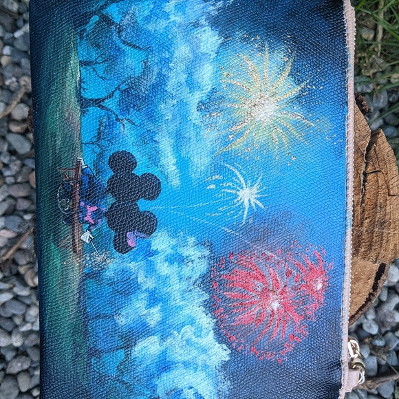Disney Handbags - Hand painted Mickey and Minnie mouse purse